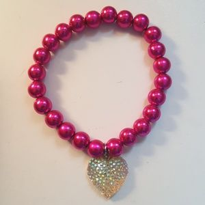Other - Hot pink bracelet with sparkling heart